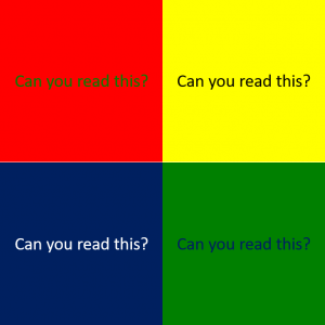 Example of colour contrast